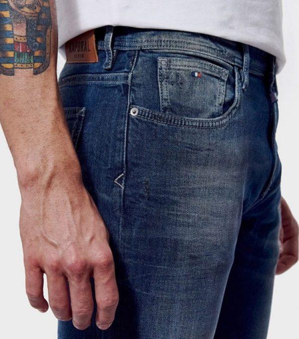 Jeans kaporal style straight coté poche